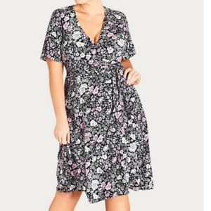 New! City Chic Etched Floral Wrap Dress - Size 14 (XS on tag)